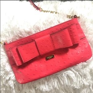 Kate Spade Charm City Ostrich Presley Bow Front chain strap crossbody bag pink